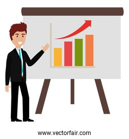 businessman with paperboard training character