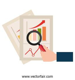 magnifying glass with financial document
