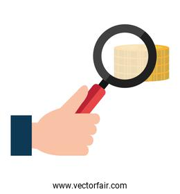 magnifying glass with pile coins money