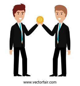 business people with coin money characters