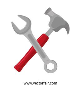 hammer with wrench crossing