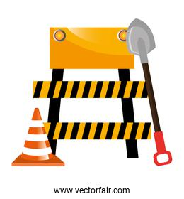 construction barricade with cone and shovel