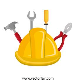 construction helmet with tools