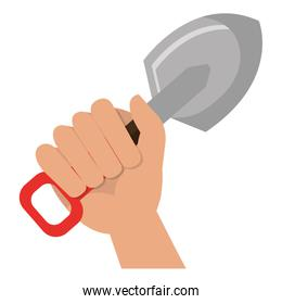hand with shovel tool