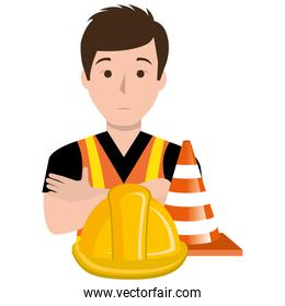 builder with cone and helmet comic character