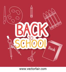 back to school label with supplies