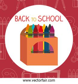 back to school label with colors crayons