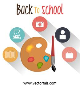 back to school label with pallette colors