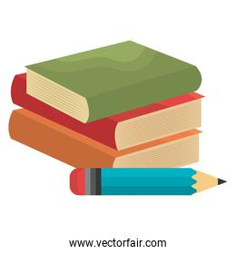 pile text books with pencil