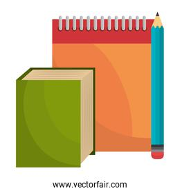 notebook school with book and pencil