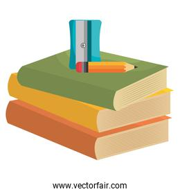 pile text books with sharpener and pencil