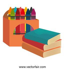 pile text books with crayons