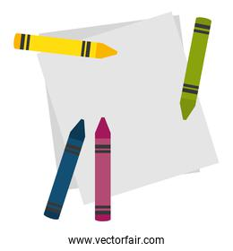 notebook paper sheet with crayons