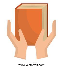 hands with text book