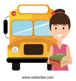 young girl student with bus character