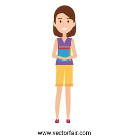 young girl student with books character