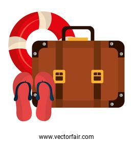 suitcase travel with sandals and float
