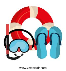 snorkel mask with float and sandals