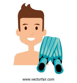young boy with diving fins