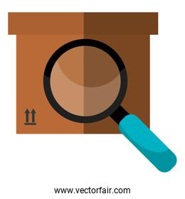 delivery carton packing with magnifying glass