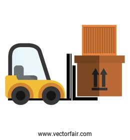 delivery forklift with carton boxes
