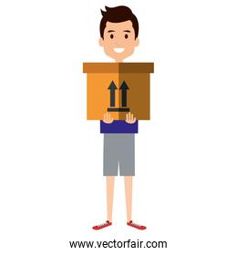 young man with delivery carton box