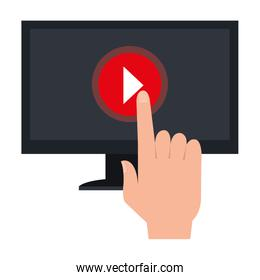 hand using monitor computer with media player