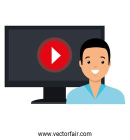 man using monitor computer with media player