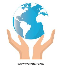 hands with world planet