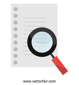magnifying glass and sheet notebook