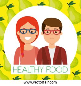 young couple with pears healthy food
