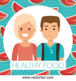 young couple with watermelon healthy food