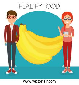 young couple with bananas healthy food