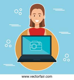woman with laptop character