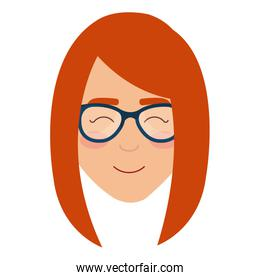 young woman with glasses character