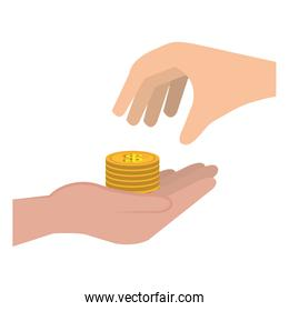 hand with pile coins money
