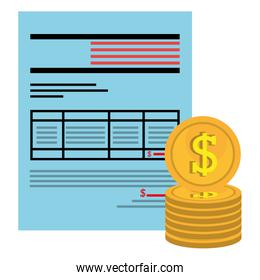 financial documents with coins