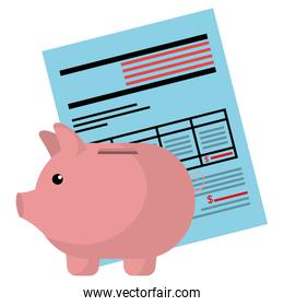 financial documents with piggy savings