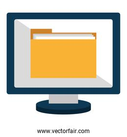 computer display with folder