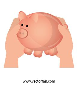 hands with piggy savings isolated icon