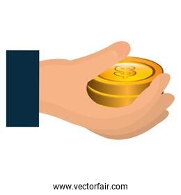hand with coins money