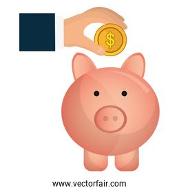 hands with piggy savings and coins