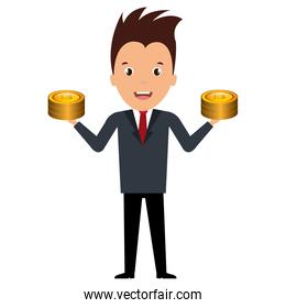 businessman with coins money
