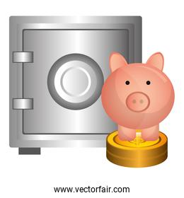 piggy savings with coins and safe box