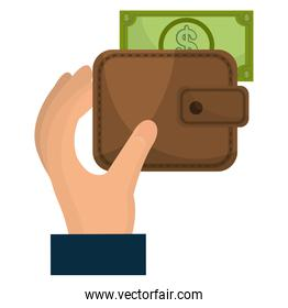 hand with wallet and bills dollars