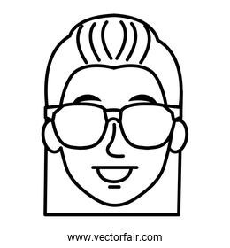 young woman with glasses avatar character