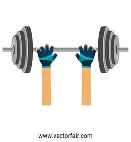 hands lifting dumbell gym accessory