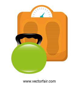 dumbell gym accessory with scale balance