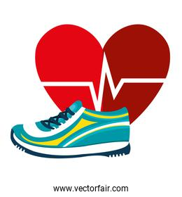 heart cardio with tennis shoes