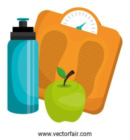 bottle gym with balance and apple
